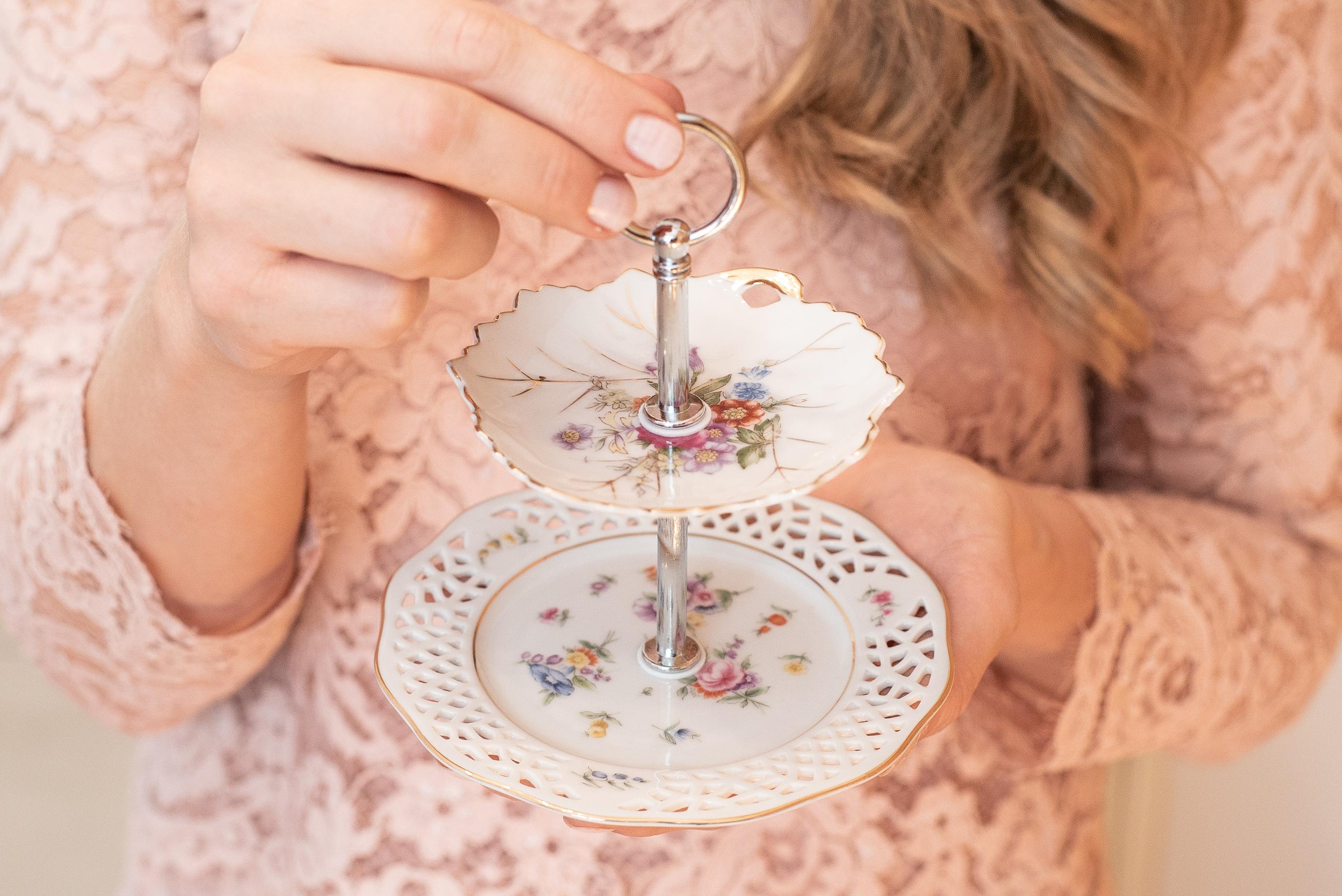 Mini Etagere vintage Teller mit Floralen Muster Schmuckablage