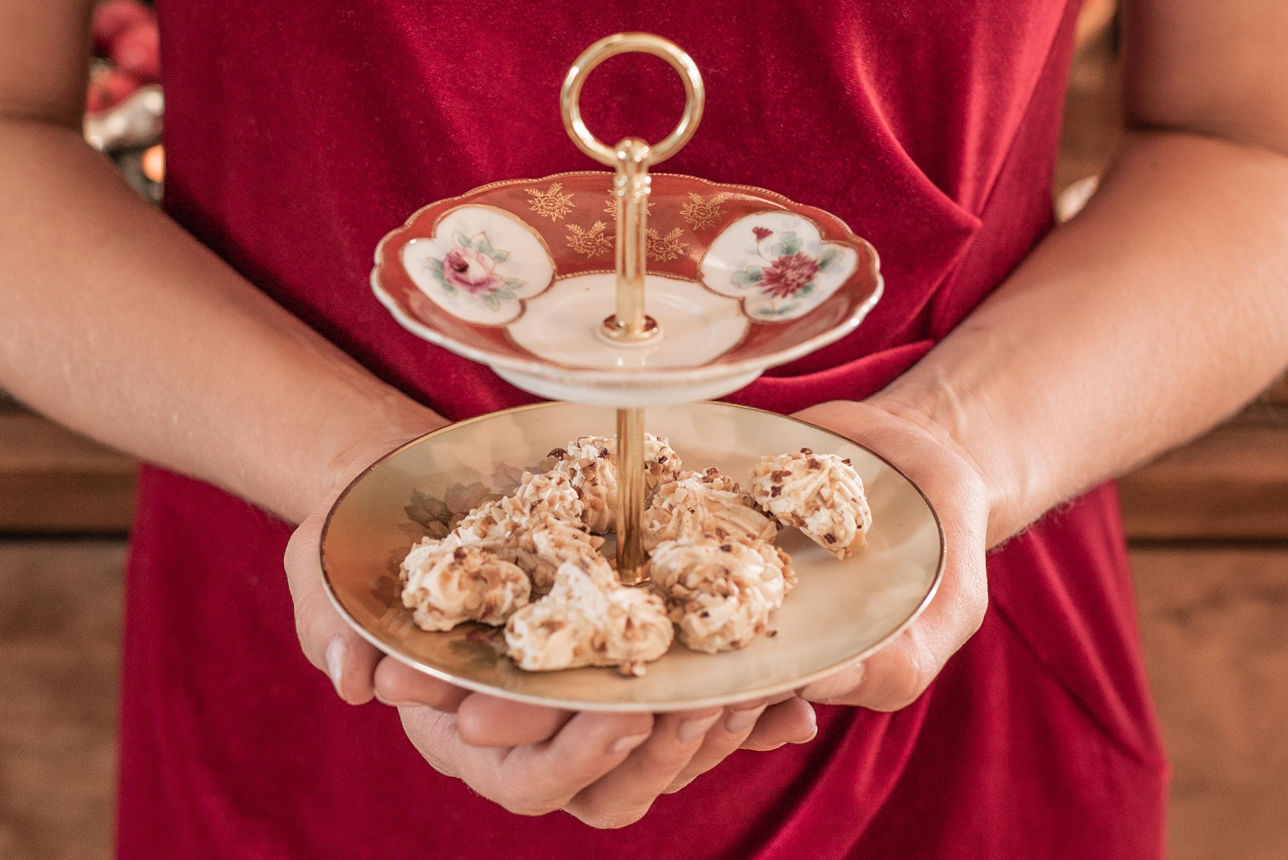 handgefertigte Etagere für Weihnachtskekse
