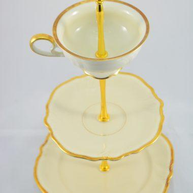 Etagere mit gold rand Porzellan Weihnachtsetagere Weihnachtsdekoration Tischdekoration
