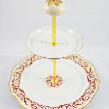 Etagere mit rot golden Teller Limoge Porzellan Weihnachtsetagere Weihnachtsdekoration Tischdekoration Etagere mit Keramik Knauf als Griff