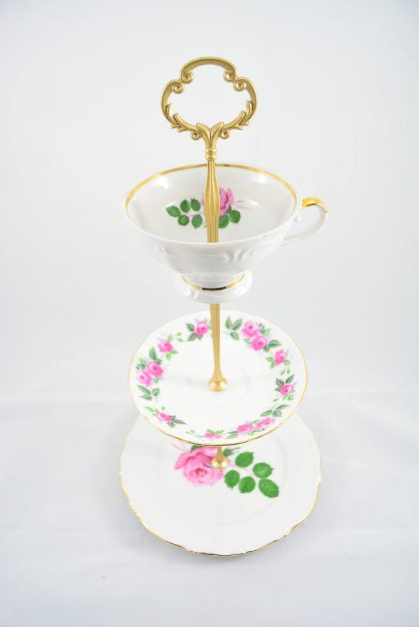 Etagere Rosenteller gold rand Tasse