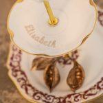 Etagere aus vintage porzellan mit Namen personalisiert limoge Porzellan gold rand